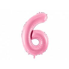 Folieballon cijfer 6 roze 86cm