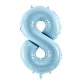 Folieballon cijfer 8 lichtblauw 86cm