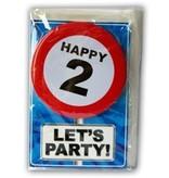 Happy Age Kaart Button - 2 Jaar