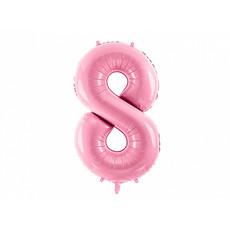 Folieballon cijfer 8 roze 86cm