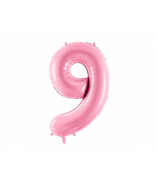 Folieballon cijfer 9 roze 86cm