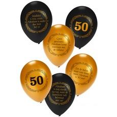 Ballonnen Abraham Zwart/Goud - 6 stuks