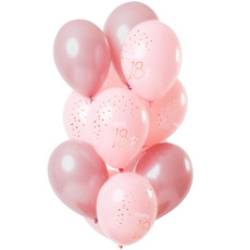 Ballonnen Set 18 Jaar Roze Premium - 12 Stuks