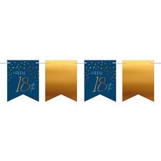 Vlaggenlijn 18 Jaar Blauw/Goud - 6 Meter