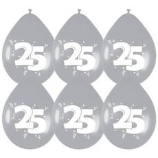 Ballonnen '25' Zilver - 6 stuks