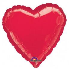 Hartjes Ballon Folie Metallic Rood - 43cm