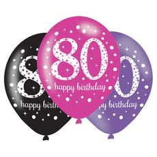 Ballonnen 80 Jaar Happy Birthday Pink, Paars En Zwart