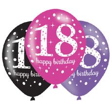 Ballonnen 18 Jaar Happy Birthday Pink, Paars En Zwart