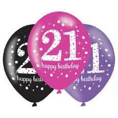 Ballonnen 21 Jaar Happy Birthday Pink, Paars En Zwart