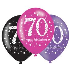 Ballonnen 70 Jaar Happy Birthday Pink, Paars En Zwart