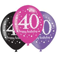 Ballonnen 40 Jaar Happy Birthday Pink, Paars En Zwart