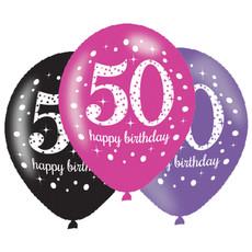 Ballonnen 50 Jaar Happy Birthday Pink, Paars En Zwart