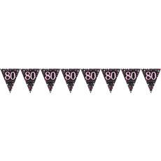 Happy Birthday Vlaggenlijn 80 jaar Sparkling Pink