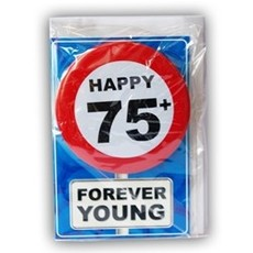 Happy Age Kaart Button - 75 Jaar