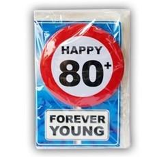 Happy Age Kaart Button - 80 Jaar