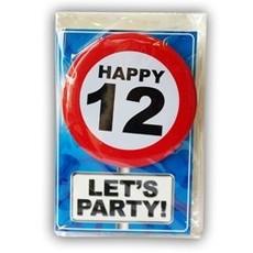 Happy Age Kaart Button - 12 Jaar