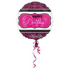 Folieballon Zwart/Roze Print Happy Birthday - 45cm