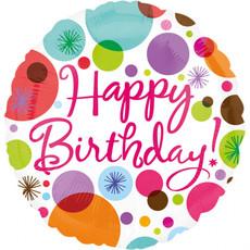 Folieballon Happy Birthday Dots - 45cm