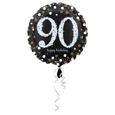 Folieballon 90 Jaar Happy Birthday Sparkling Gold 43cm