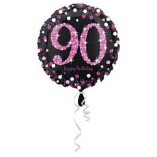 Folieballon 90 Jaar Happy Birthday Pink 43cm