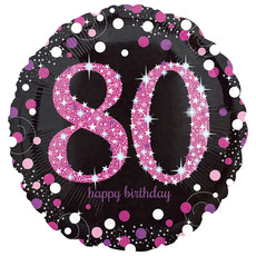 Folieballon 80 Jaar Happy Birthday Pink 43cm