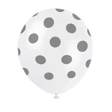 Ballonnen Wit met Zilveren Stippen - 6 Stuks