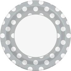 Bordjes Zilver met Stippen - 8 stuks