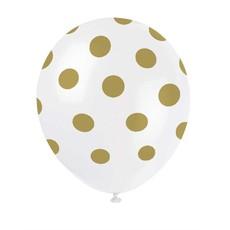 Ballonnen Wit met Gouden Stippen - 6 Stuks