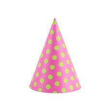 Feesthoedjes Roze Met Groene Stippen - 6 Stuks