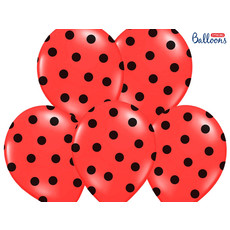 Ballonnen Pastel Poppy Rood Met Zwarte Stippen - 6 Stuks