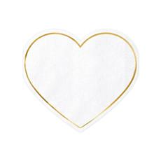 Servetten Hartjes Wit met gouden rand - 20 Stuks