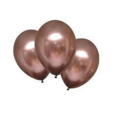 Chrome Ballonnen Rosé Koper luxe - 6 Stuks