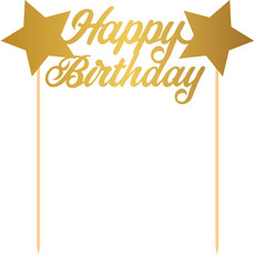 Taart Prikker Happy Birthday Sterren Goud