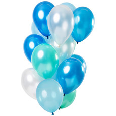 Ballonnen Set Azuur Blauw Metallic Premium 30cm - 15 Stuks
