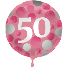 Folieballon 50 Jaar Glossy Pink - 45cm