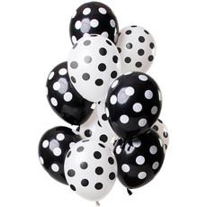 Ballonnen Zwart en Wit Polka Dots Premium - 12 Stuks