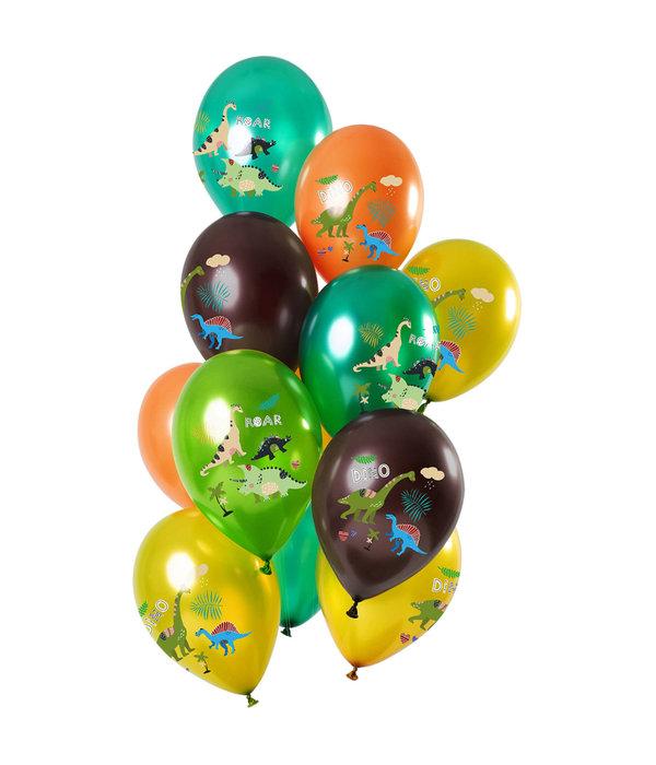 Metallic Ballonnen Set Dinosaurussen Premium - 12 Stuks