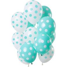Ballonnen Set Mintgroen En Wit Polka Dots Premium - 12 Stuks