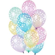 Ballonnen Pastel Transparant Witte Stippen Premium - 12 Stuks