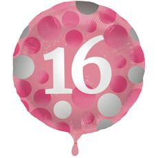 Folieballon 16 Jaar Glossy Pink - 45cm