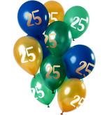Ballonnen Set 25 Jaar Groen/Goud Premium - 12 Stuks