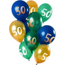 Ballonnen Set 50 Jaar Groen/Goud Premium - 12 Stuks