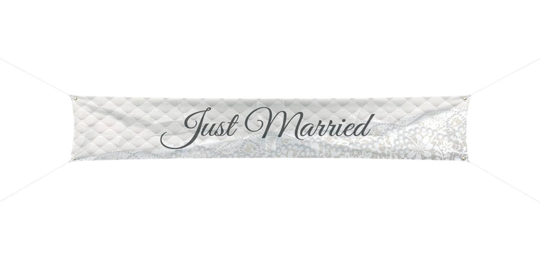 Feestbazaar Bruiloft Spandoek Just Married 300x60cm online kopen