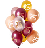 Ballonnen Set 25 Jaar Roze/Goud Premium - 12 Stuks