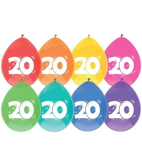 Ballonnen 20 jaar mix kleuren