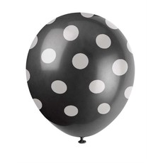 Ballonnen Zwart Met Witte Stippen - 6 Stuks