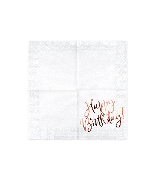 Happy Birthday Servetten Wit/Rosé Goud - 20 Stuks