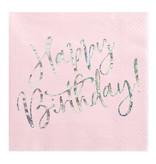 Servetten Happy birthday Poederroze - 20 Stuks