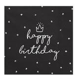 Servetten Happy birthday King Zwart/Wit - 20 Stuks