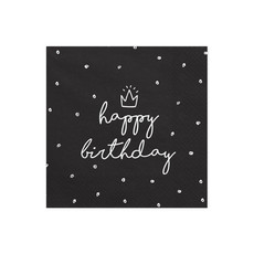 Servetten Happy birthday King Zwart/Wit - 20 Stuks